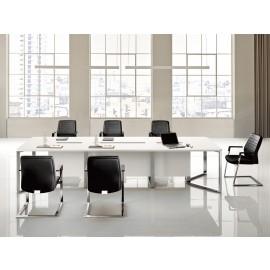 I-MEET 09 Meeting-Tisch, Chromdesign, Kabelführung, Tischplatten in weiß