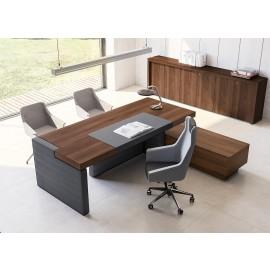 JERA  04  Design Büro, Leder Chefschreibtisch mit Tischcontainer, Sideboard in Nussbaum gerahmt,  Design beeindruckend massiv