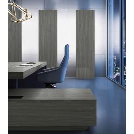 JERA 10  Chefschreibtisch impsantes Design, Winkelschreibtisch mit Schrankelementen indirekt beleuchtet, Ulme_grau