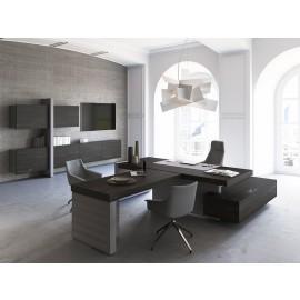 JERA  14  modern stilvolles Chefzimmer Einrichtung,  Schreibtisch mit Anbau Meetingtisch, Designer Büro günstig, Leder Eckschreibtisch, Wandboard, Hängeschränke, Holzfarbe Esche braun