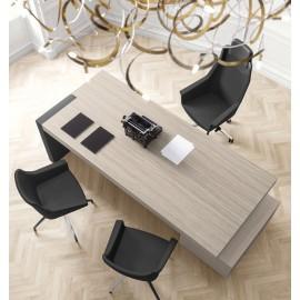 JERA  15  modern eleganter Chef-Schreibtisch mit Schubladen Container, Chefbüro preiswert einrichten, Farbe Ulme grau, Leder Tischgestell
