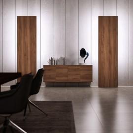 21  exklusiv moderne Schrank Kombination, Design Stauraum Lösung mit Wandboard mit Hintergrund Beleuchtung, , Sideboard in der Holzfarbe Nuss