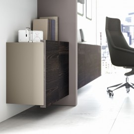 22 Büro Design Wandelemente, Akten Hängeschränke, Stauraum, Sideboard, Holzfarbe in Esche braun, Steingrau
