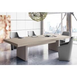 JERA 31 - Konferenztisch modern mit passenden Konferenzsessel, Ulme grau und anderen Farben erhältlich, Tischgestell in Leder