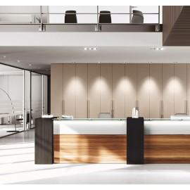 NICE 14 Bürotheke oder Rezeption, dreifarbig individuell anpassbar, auf wunsch mit LED Beleuchtung