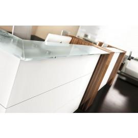 NICE 15 hochwertig gestalteter Empfang, exklusive Bürotheke, Rezeption mit Glastop und Zebrano farbener Standcontainer