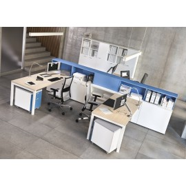 OXI 02 Mitarbeiter Schreibtisch mit Stauraum Lösungen, kompakter Teamarbeitsplatz, zweifarbig möglich