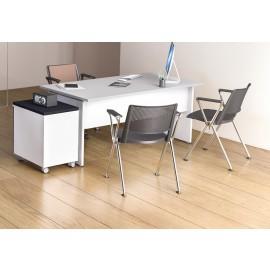 OXI 04 Berater Schreibtisch mit Sichtschutz und Rollcontainer