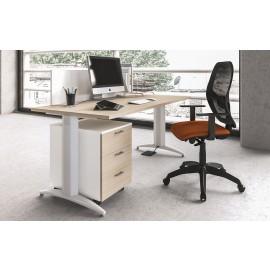 OXI 05 Einzelarbeitsplatz, Büroschreibtisch, T-Gestell, Sichtschutz, Rollcontainer Ahorn, weiss