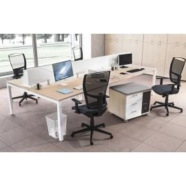 OXI 06 Büroschreibtisch Kombination mit Sichtschutz, Teamlösung, Mehrplatz Schreibtisch