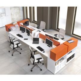 OXI  15 Team Büroschreibtisch, weiß miz Tischregal, zweifarbig, modernes Büro