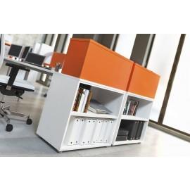 OXI 16 Büro Schreibtisch in weiß-orange mit Aufsatzregal, Standcontainer, zweifarbig modern