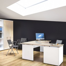 OXI 18 Büro Eckschreibtisch mit Standcontainer und Sichtschutz, zweifarbig, Aktenschrank