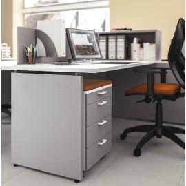 OXI 20 moderner Akustik-Schreibtisch mit Rollcontainer gepolstert, Sichtschutz, Schallschutz