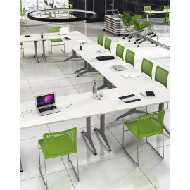 OYO 05 Besprechungstisch stapelbar, Schulungstisch platzsparend, Konferenztisch, klappbar, Transportwagen