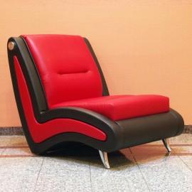 s-10 02 exklusiver Designer Lounge Sessel, moderne Form, 1-Sitzer in zweifarbigen Leder, Chrom Fußgestell