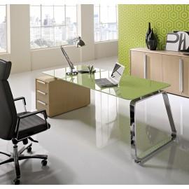 Seventies 02 Design Chef-Büromöbel, Glas, Chrom