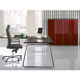 Seventies 03 Designer Chef-Schreibtisch, Tischplatten Farbe Mokka Lärche