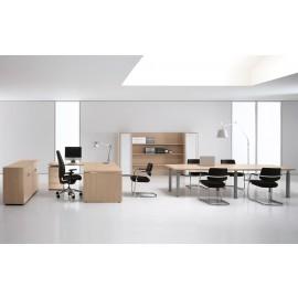 Studio 05 Chefzimmer Eckschreibtisch, helle Eiche, Konferenztisch, Wandregal mit Glastüren