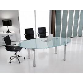 Studio 01 Glasschreibtisch oval, Tischplatte satiniert, Tischfuss Chrom