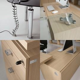Studio 17 Details Kabelaufführung, Tischplattenhalter, Schreibtisch-container