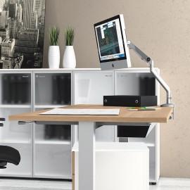 UP 02 Steh- Sitz- Schreibtisch mit Höhenverstellung, mechanisch mit Kurbel, Steh-Arbeitsplatz, Förderung durch Krankenkassen