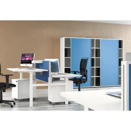 UP 06 Team Steh- Sitz- Doppelarbeitsplatz mit Höhenverstellung, Sichtschutz, Stehtisch Schreibtisch