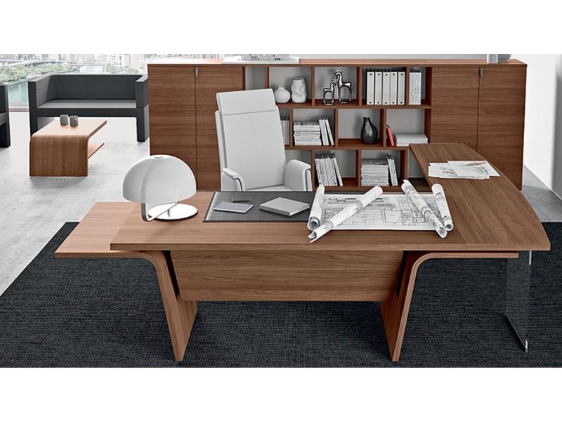 ... 08 Design Eck Chefschreibtisch, Winkelschreibtisch Für Chefbüro, Möbel  Modern Abgerundet In Nussbaum Natur Mit ...