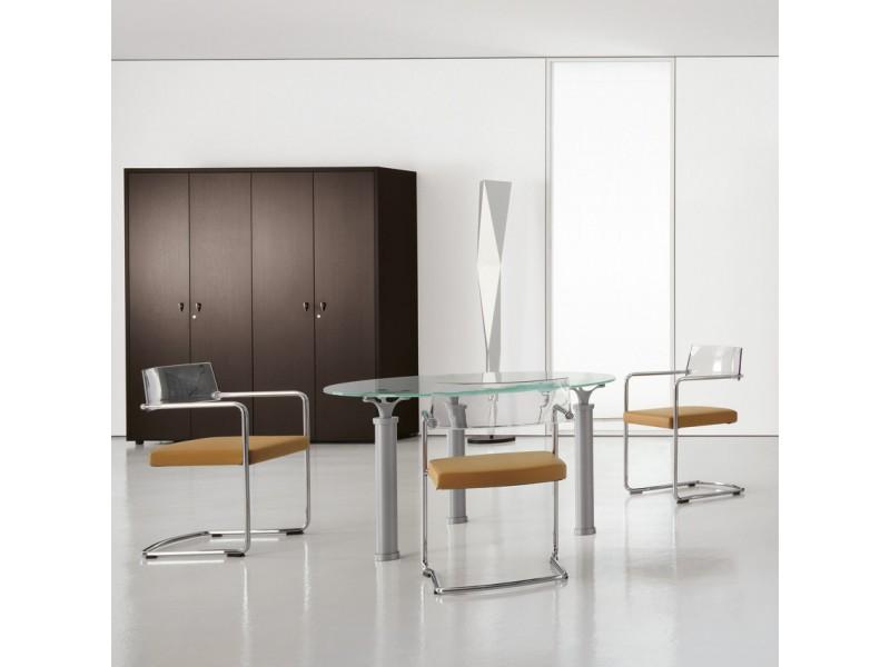 Designer Glas- Meeting tisch, Konferenz Chefmöbel - STUDIO -